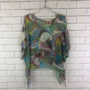 Show Me Your Mumu | Bird Print Silk Dolman Blouse